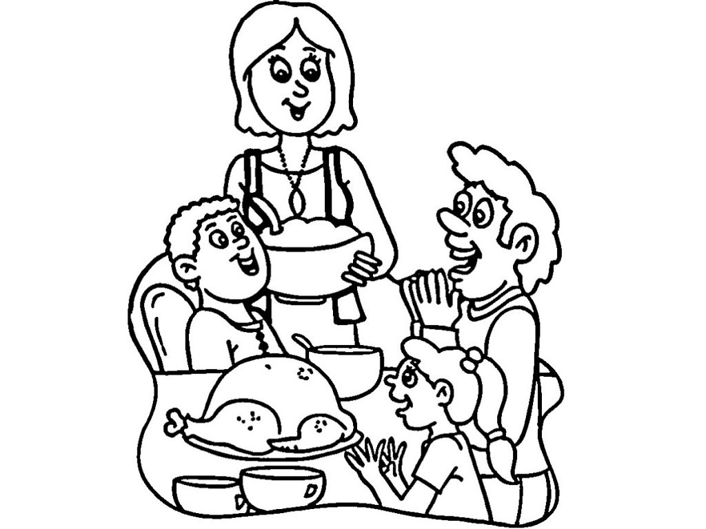 Thanksgiving Coloring Sheets Dinner