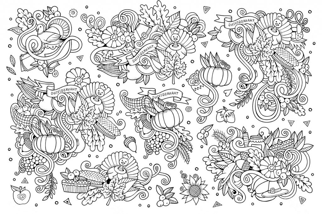 Thanksgiving Coloring Sheets Doodle