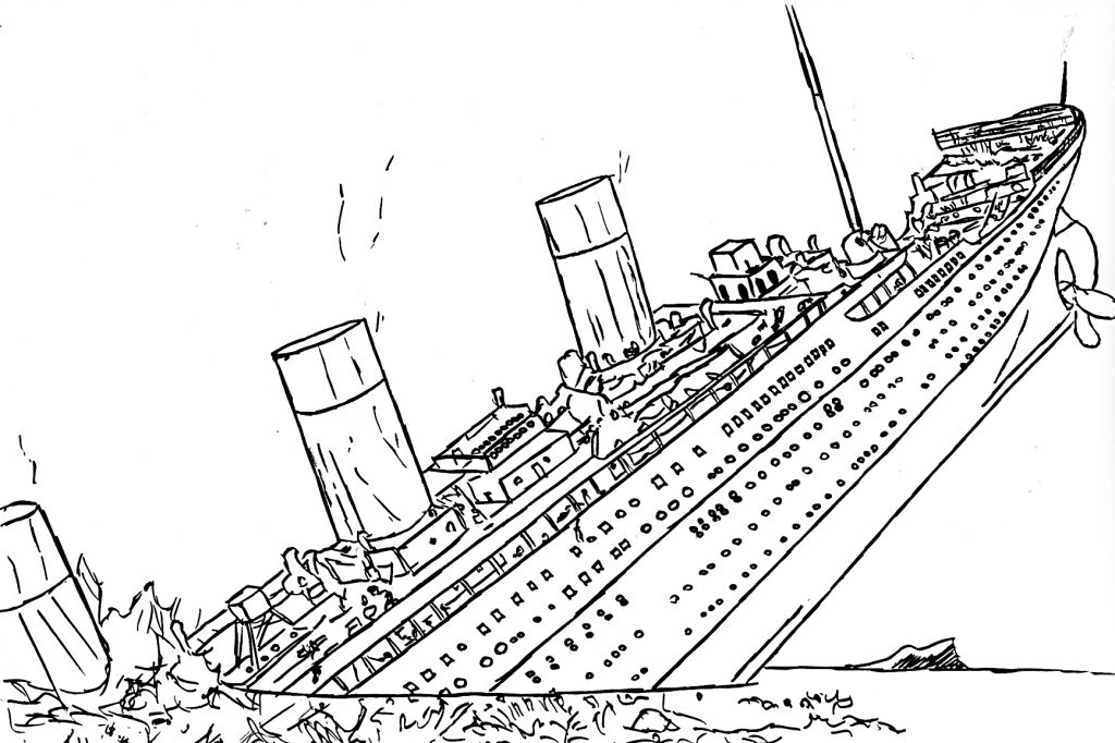 Titanic Coloring Pages Sinking