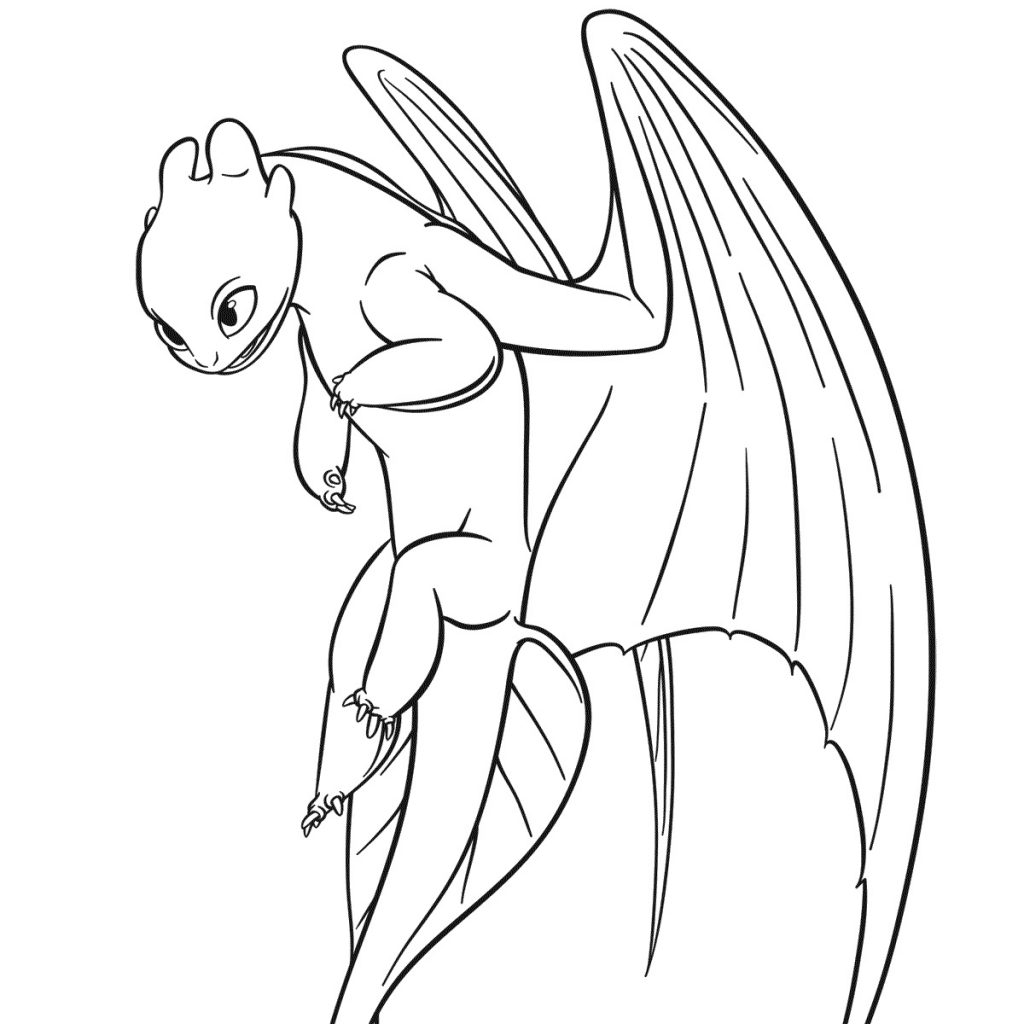 Toothless Cute Dragon Coloring Pages