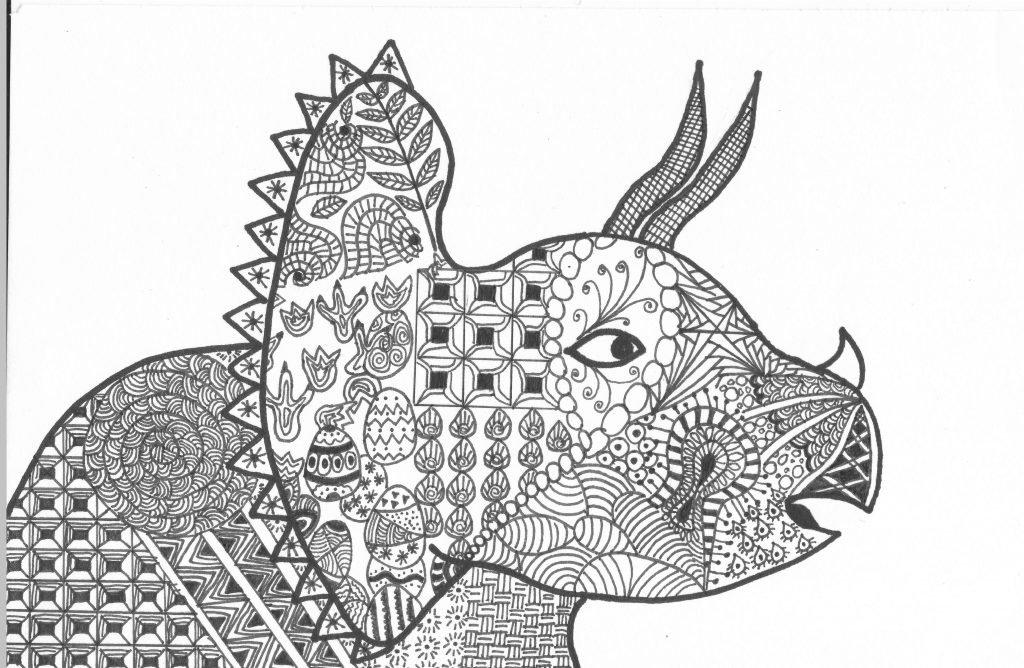 Triceratops Coloring Page Pattern