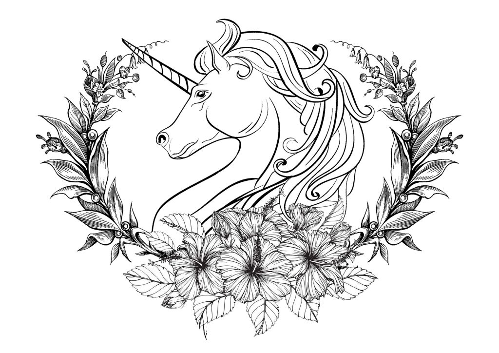 Unicorn Coloring Book Flower