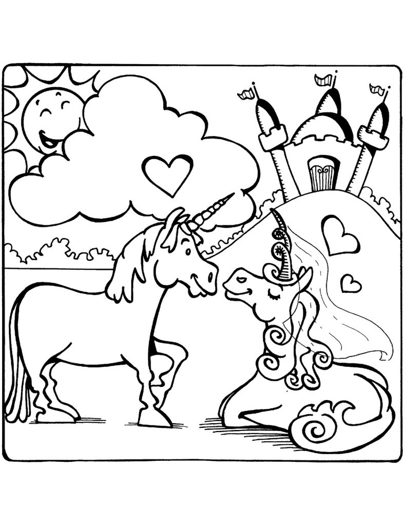 Unicorn Coloring Book Love