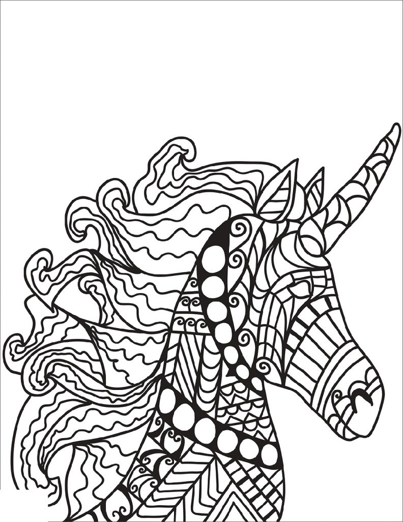 Unicorn Coloring Book Zentangle