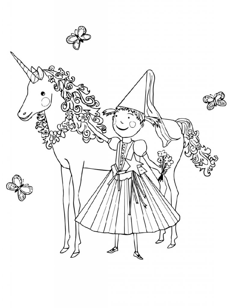 Unicorn Pictures To Color For Kids