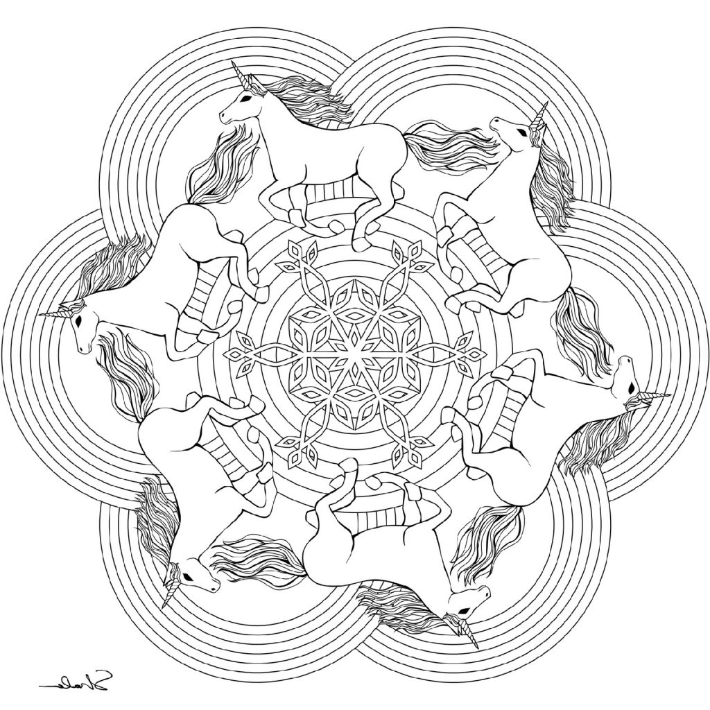 Unicorn Pictures To Color Mandala
