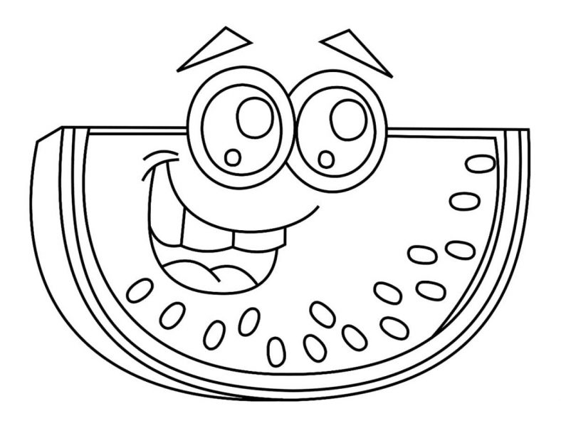 Watermelon Coloring Page Cartoon