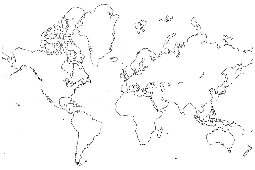 World Map Coloring Page Full Page
