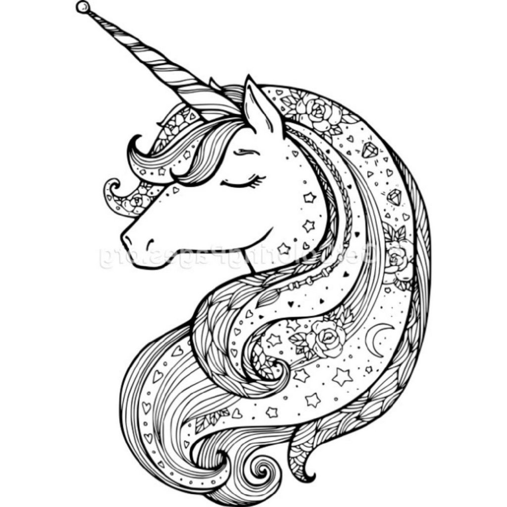 Zentangle Unicorn Coloring Pages