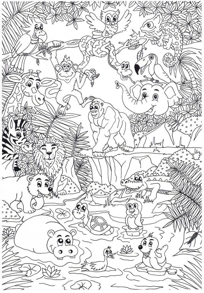 Zoo Animal Coloring Pages For Adults